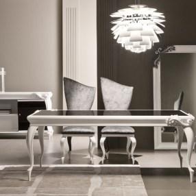 3.10 335T tavolo laccato bianco + 333S sedia + 334P poltroncina + 342M madia + 803sp specchiera - ridotta