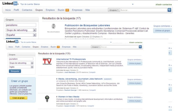 Grupos de LinkedIn en varios idiomas