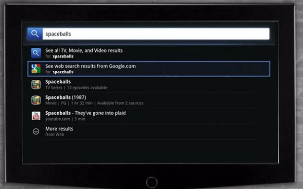 Google TV menu