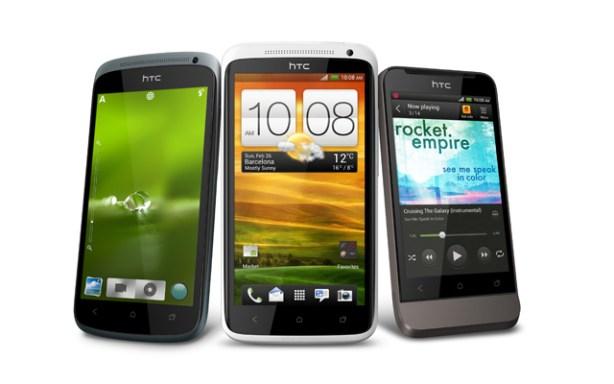 La familia HTC One presentada en el Mobile World Congress 2012.