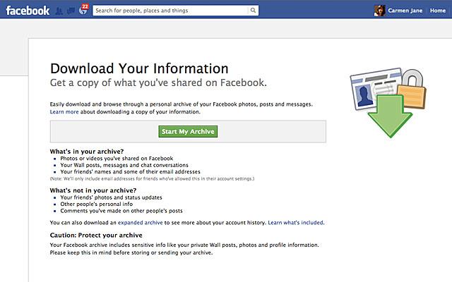 Facebook descarga información