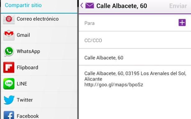 con Gogle Maps puedes compartir indicaciones con tus contactos