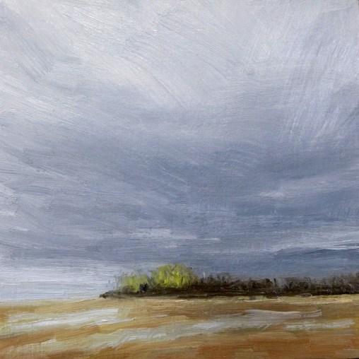 Dark clouds over beach