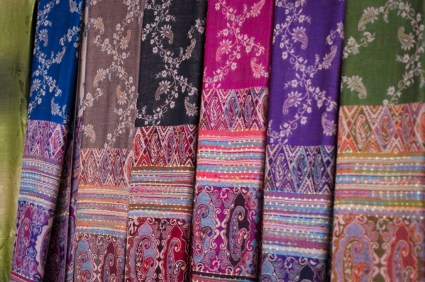 Scarves made by the women in a Karen village in northern Thailand