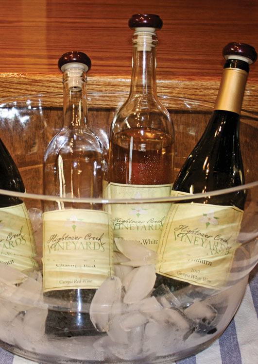 Wine bottles from Hightower Creek Vineyards in Hiawassee georgia