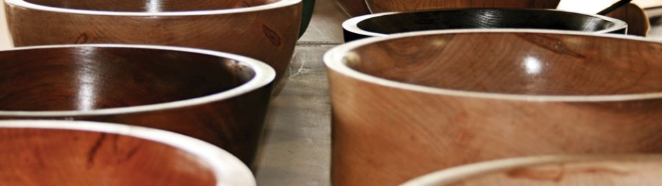 Woodturned bowls at craft show