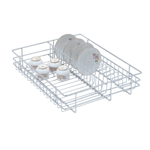 Cup & Saucer Drawer Basket (4″ Height X 12″ Width X 20″ Depth) 6mm wire Stainless Steel