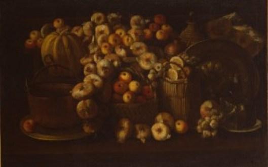 BARBIERI Paolo Antonio, Natura morta con mele, cipolle, agli, zucca e rami, Ravena, Museo d'Arte della Città, inv QA 312