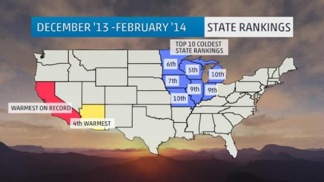 NOAA/NCDC Top 10 Coldest State Rankings Winter of 2013