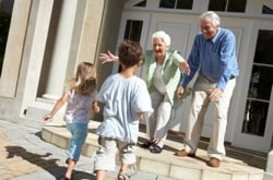 children visiting grandparents