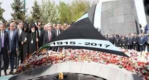 Armenia's highest leadership attending Tsitsernakaberd memorial complex