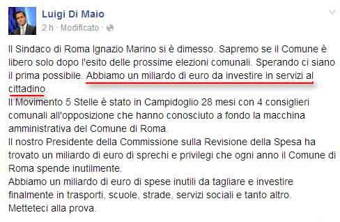 Luigi Di Maio avrebbe un altro miliardo di euro da spendere (dopo quello inesistente da spendere per Roma)