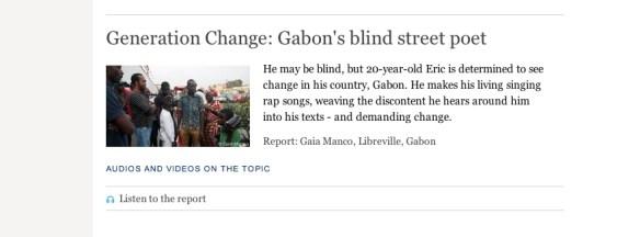 Gabon's blind poet Report for DW English, photo: Gaia Manco