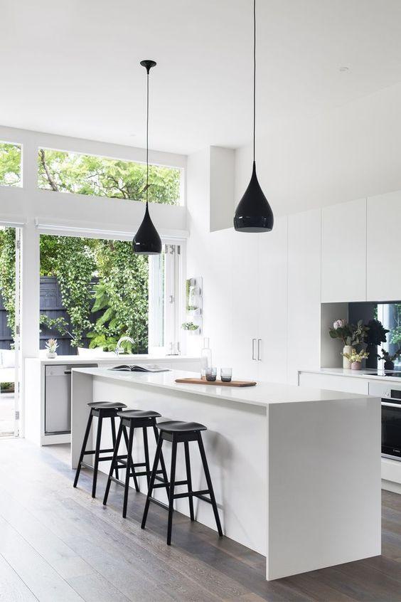come arredare una cucina moderna bianca e nera