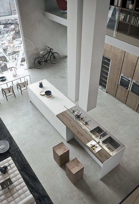 come arredare una cucina moderna bianca e legno