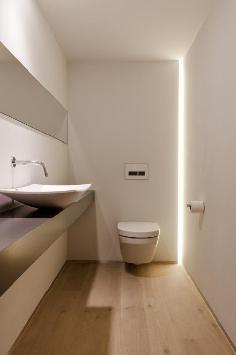 bagno piccolo con Illuminazione led nascosta