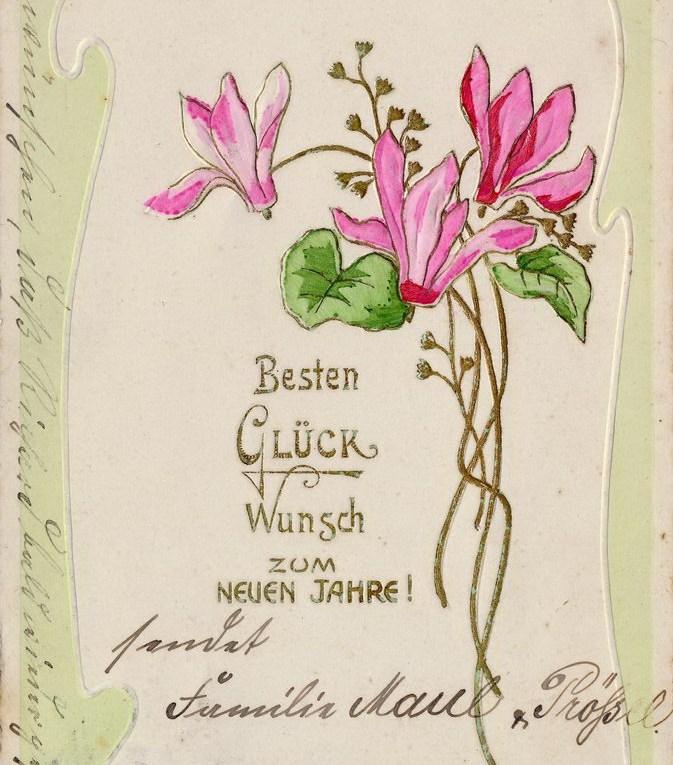 alte Neujahrskarte Jugendstil, Blumen,