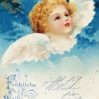 Alte Weihnachtskarten mit Engeln