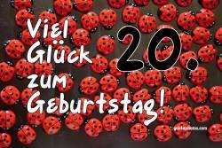 Karte zum 20. Geburtstag Marienkäfer