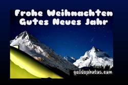 Weihnachtskarte, Neujahrskarte Alpen im Mondlicht