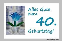 40. Geburtstag Karte Blume türkis