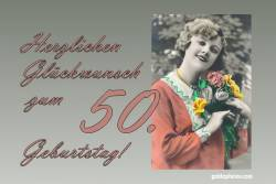 Karte 50. Geburtstag Frau Blumenstrauß Antik