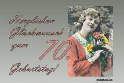 70. Geburtstag Karte Frau Blumenstrauß Antik