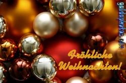 Frohe Weihnachten Karte, Weihnachtskugeln