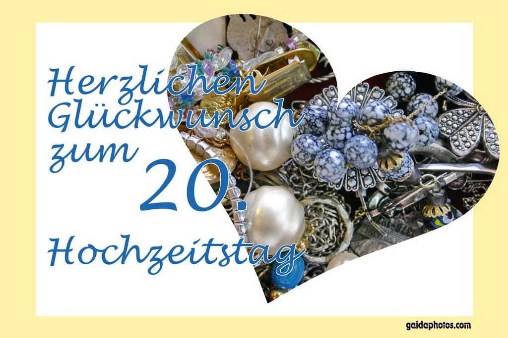 Karte 20. Hochzeitstag Porzellanhochzeit Herz Schmuck