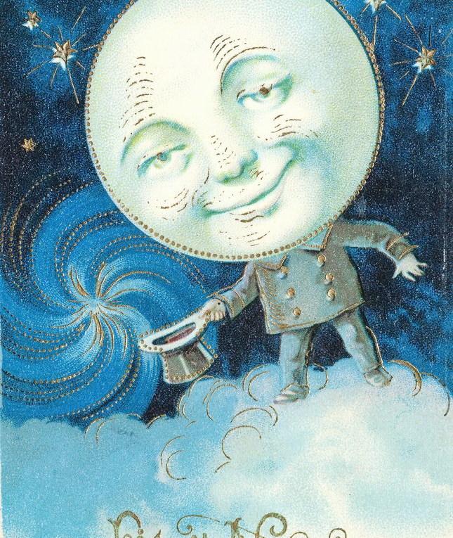 Neujahrskarte mit Mond von 1897