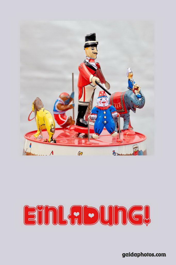 Einladungskarte Zirkus Spielzeug