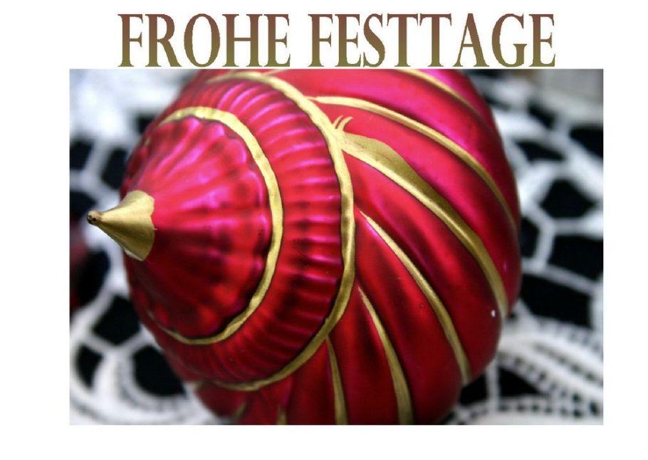 """Weihnachtskarte """"Frohes Fest"""" mit roter Weinhachtskugel"""