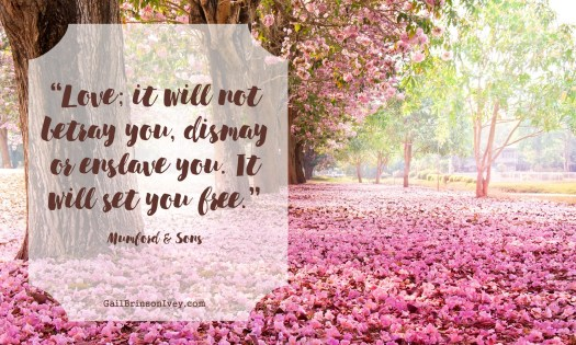 """Love; it will not betray you, dismay or enslave you. It will set you free."" - Mumford & Sons"