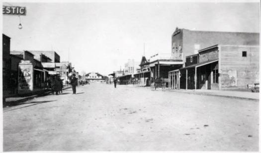 View of Fremont Street and buildings, Las Vegas, circa 1906-1908.