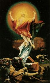 "Matthias Grunewald, ""Resurrection"" ( part of the Isenheim Altarpiece), c.1516, oil on panel, 106 x 60 1/4 in, Unterlinden Museum, Colmar, France"