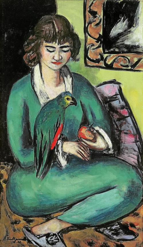 "Max Beckmann, ""Quappi with Parrot, 1936, oil on canvas, 43 1/2 x 27 3/4 in, Mülheim an der Ruhr Art Museum, Germany"