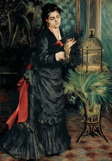 "Pierre-Auguste Renoir, ""Woman with a Parrot,"" 1871, oil on canvas, 36 1/4 x 25 5/8 in, Guggenheim Museum, New York"