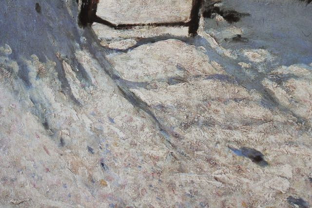 "Claude Monet, ""The Magpie,"" 1868-1869, oil on canvas, 35 x 51 1/4 in, Musee d'Orsay, Paris - detail of the gate shadow"