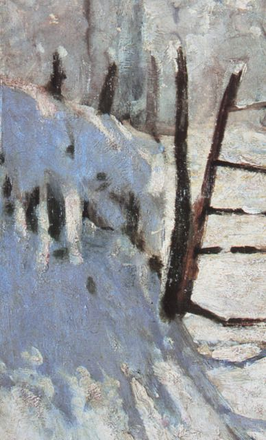 "Claude Monet, ""The Magpie,"" 1868-1869, oil on canvas, 35 x 51 1/4 in, Musee d'Orsay, Paris - detail of fence and snow to the far left"