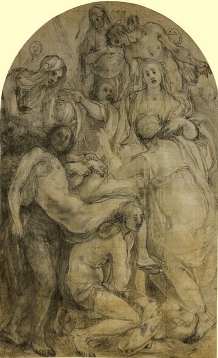 "Jacopo Pontormo, ""Preparatory drawing for the Deposition,"" date?, media?, 44.3 x 27.6 cm, Christ Church Picture Gallery, Oxford, United Kingdom"