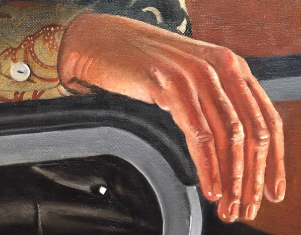 "Hands in Paintings (SAM): Alfred Leslie, ""Portrait (of Virginia Wright),"" oil on canvas, 61 3/4 x 49 5/8 in (156.8 x 126cm), Seattle Art Gallery - Detail"