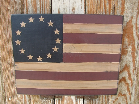Primitive Americana Betsy Ross Flag Wooden Sign