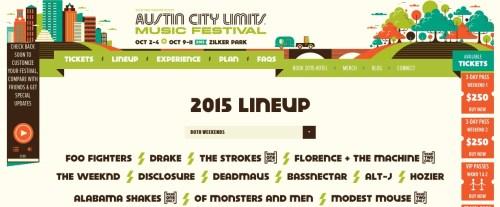 Revelan el cartel del Austin City Limits 2015: bandas para el CC15 a la vista