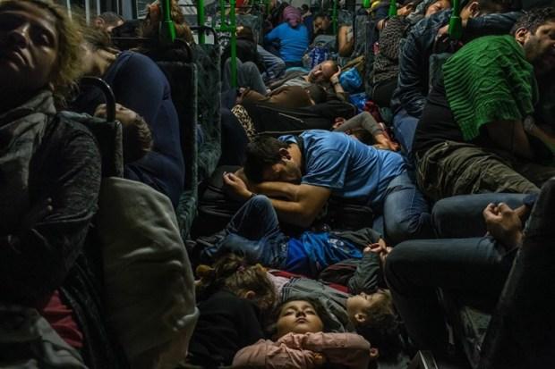 Ahmad Majid, con franela azul en el centro, duerme en el suelo de un autobús con sus hijos, su hermano Farid Majid, con sweater verde a la derecha otros miembros de su familia y docenas de otros refugiados, luego de dejar Budapest en un viaje a Viena. Cientos de miles de refugiados, mayoritariamente de Afganistán, Iraq y Siria, huyeron de sus casas, arriesgando sus vidas en peligrosos viajes en barco, traspaso ilegal de fronteras y largos viajes en autobús o tren buscando asilo en Europa Occidental y Escandinavia. (Mauricio Lima, The New York Times. 5 de septiembre de 2015).