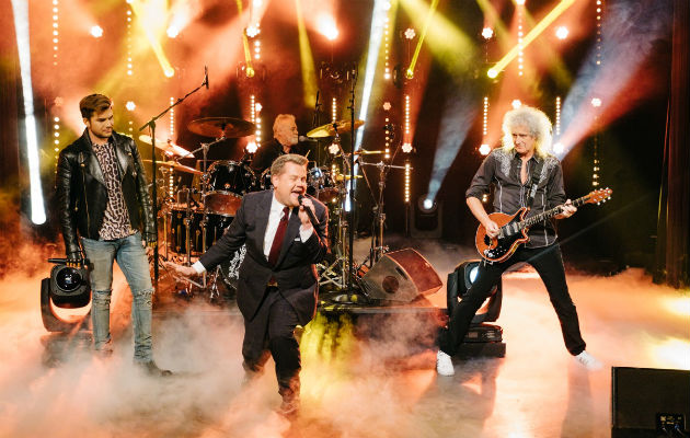 James Corden y Adam Lambert rockean con Queen