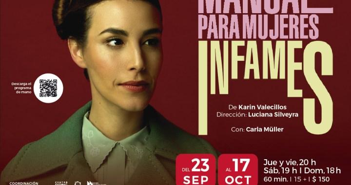 """""""Manual para mujeres infames"""" se presentará en el Centro Cultural del Bosque"""