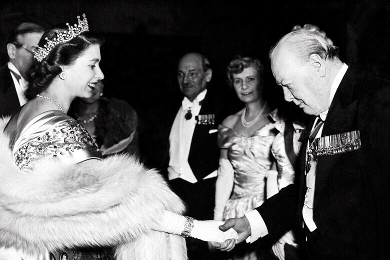 Churchill and Queen Elizabeth II