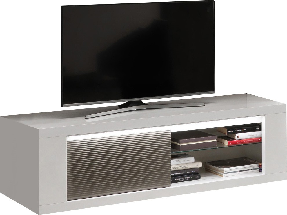 meuble tv design 150 cm laque blanc gris martinez