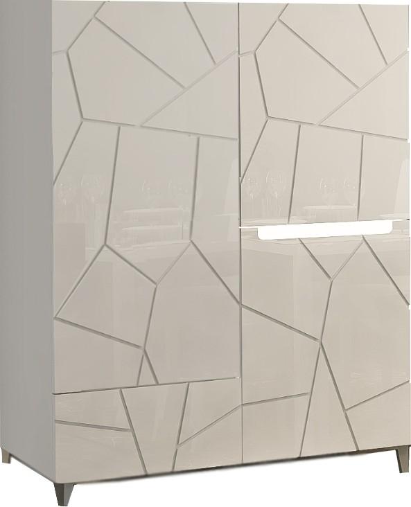 meuble haut blanc laque et imitation ardoise 120 cm 3 portes 1 tiroir avec led amelie pas cher