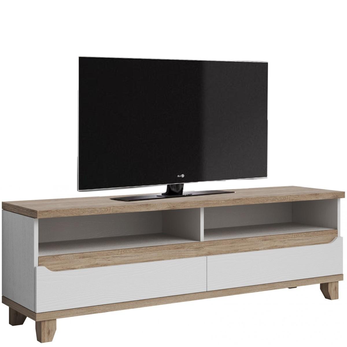 meuble tv contemporain 170 cm avec 2 niches et 2 tiroirs coloris chene et blanc melanie